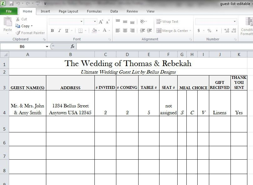 Printable Wedding Guest List | two handy guest list templates to ...
