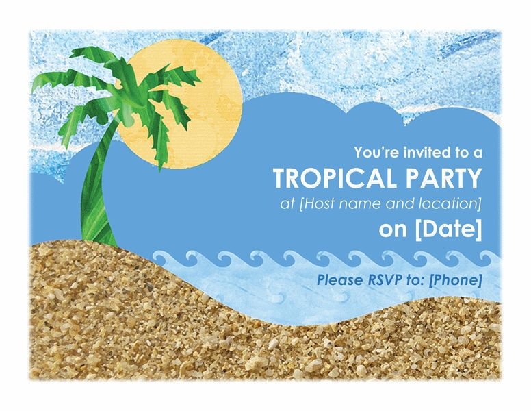 Party invitation (tropical) - Office Templates