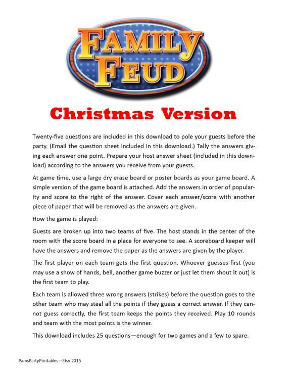 Christmas Family Feud Printable Game by PamsPartyPrintables ...
