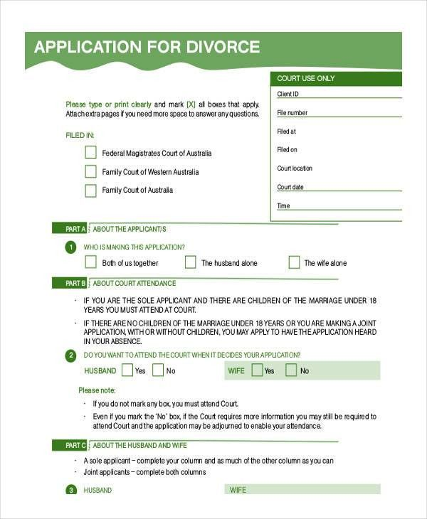 7 Divorce Application Form Samples - Free Sample, Example Format ...