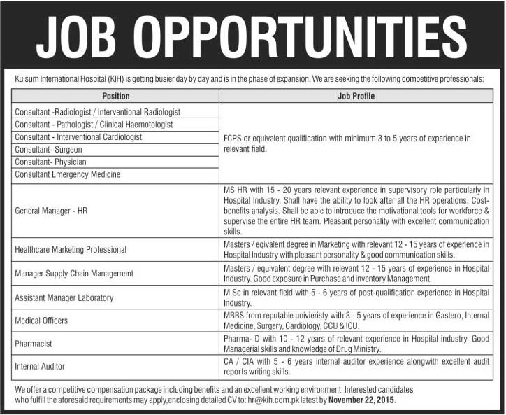 Consultants, HR Manager, Medical Officers, Pharmacist Required at ...