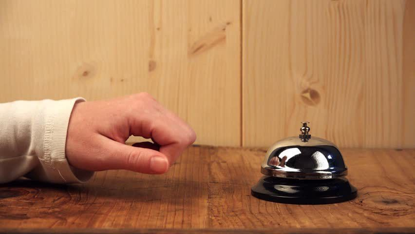 Woman Ringing Hotel Reception Bell, Female Hand Pushing ...
