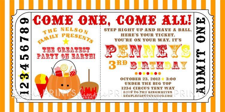 Fall Carnival Printable Ticket Invitation - Dimple Prints Shop