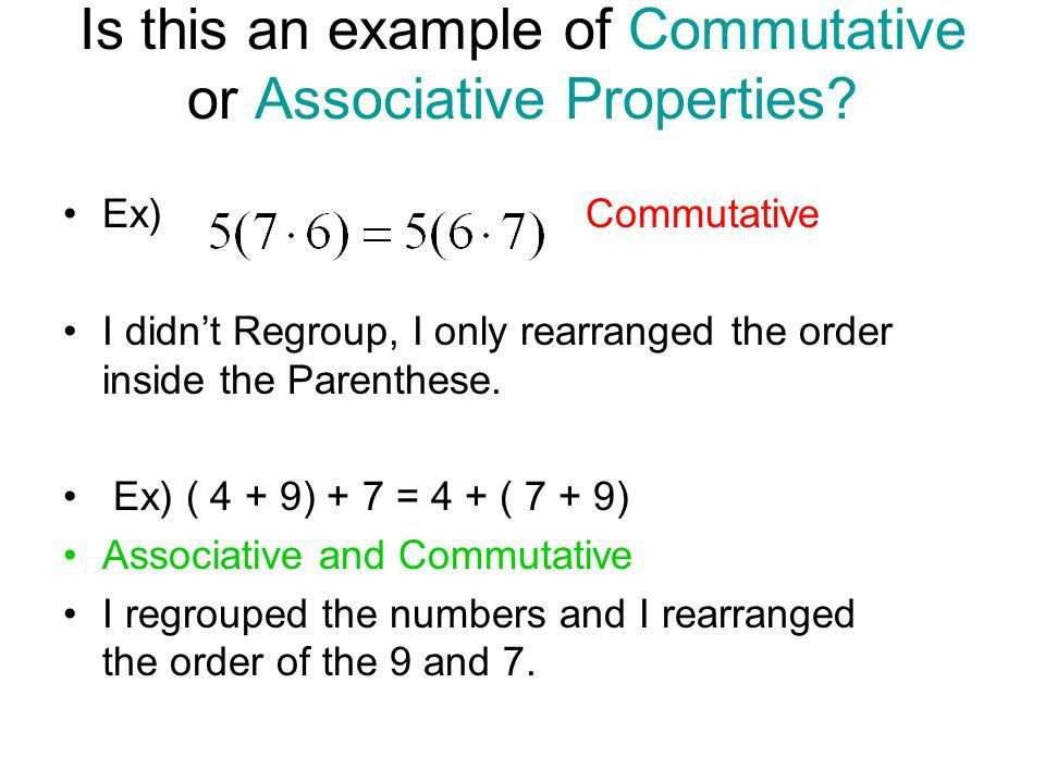 Properties of Real Numbers Commutative Property of Addition a + b ...
