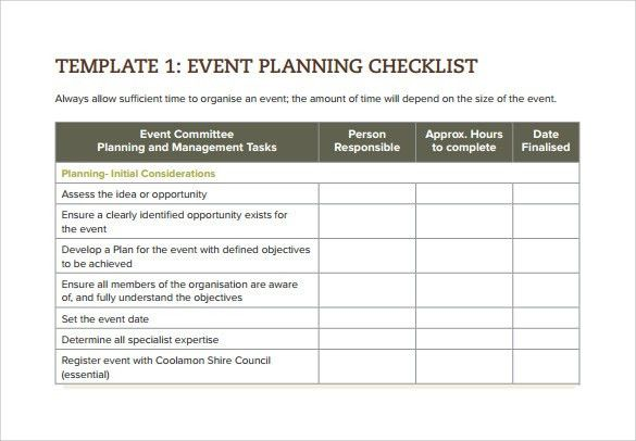 Sample Event Checklist Template - 6+ Free Documents Download In ...