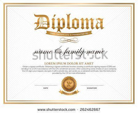 Diploma Certificate Design Template Stock Vector 262462667 ...
