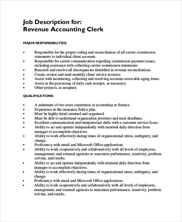 Sample Accounting Clerk Job Description   10+ Examples In PDF
