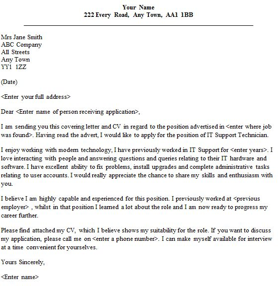 Tech Support Cover Letters IT Support Technician Cover Letter for ...