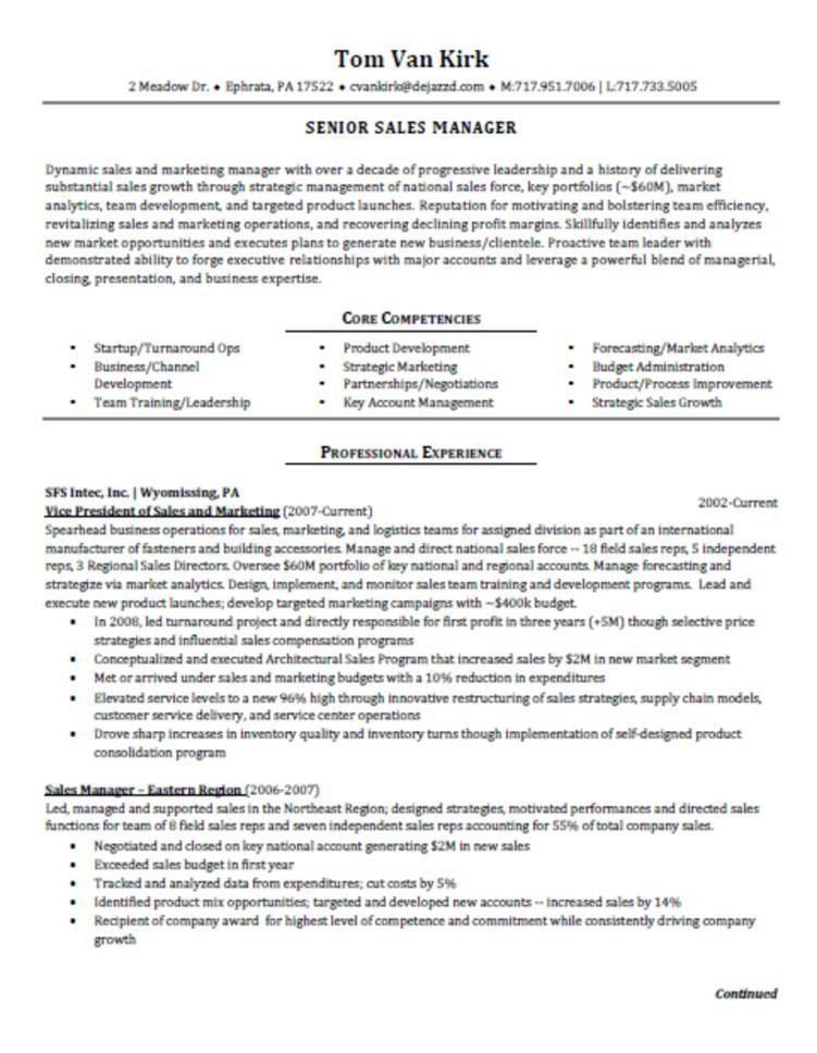 resume sample for a sales executive. senior sales manager resume ...