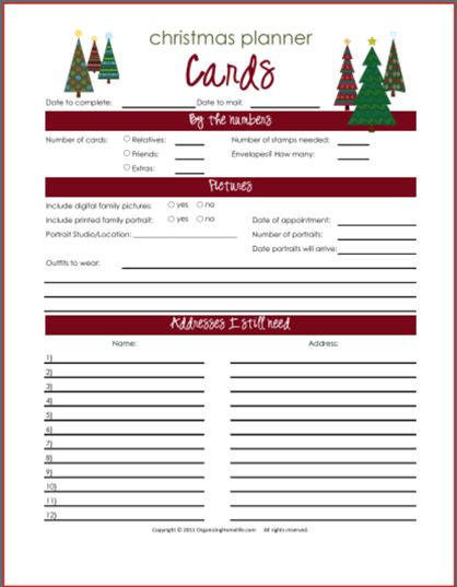 Christmas Card & Newsletter Planning Printables - Organizing Homelife