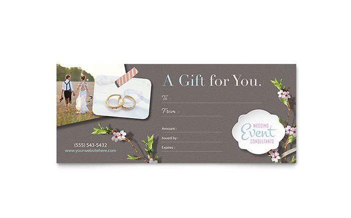 Wedding Planner Gift Certificate Template Design