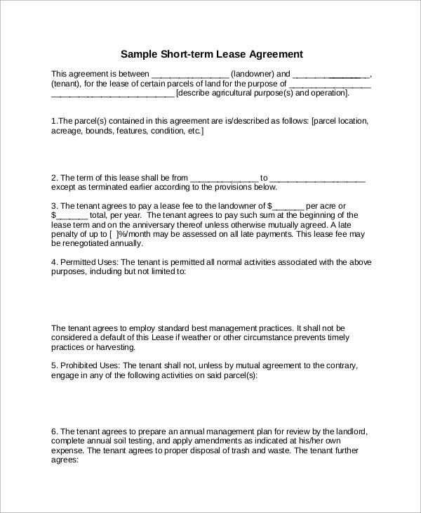 Sample Lease Agreement - 9+ Examples in Word, PDF
