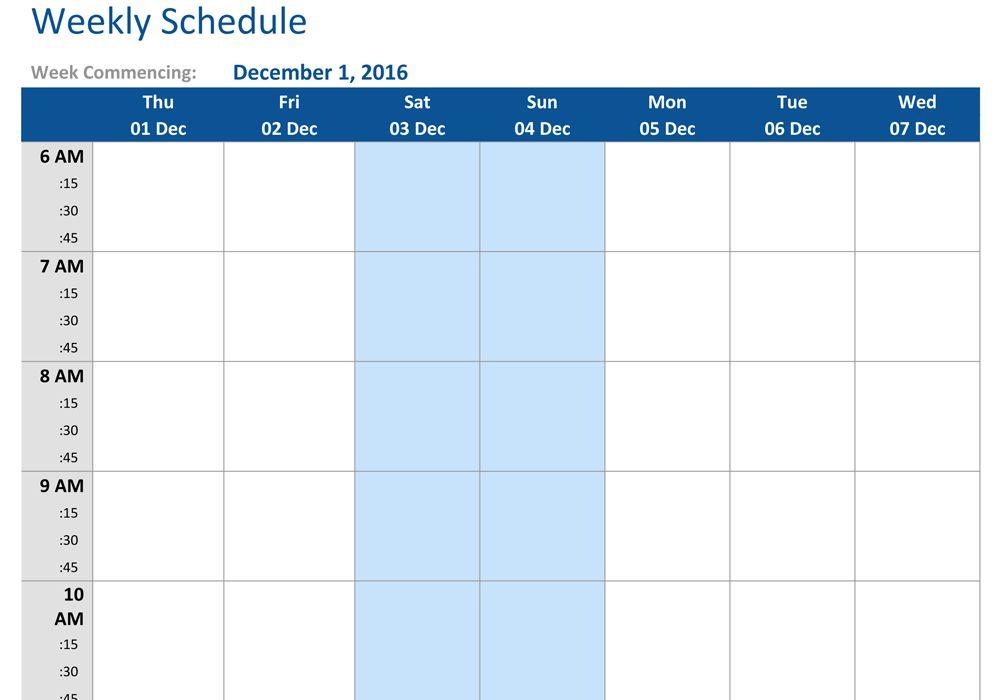 December 2016 Weekly Schedule Template Word, PDF