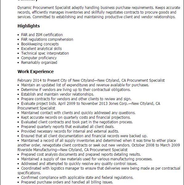 Sumptuous Procurement Resume 5 Professional Procurement Specialist ...