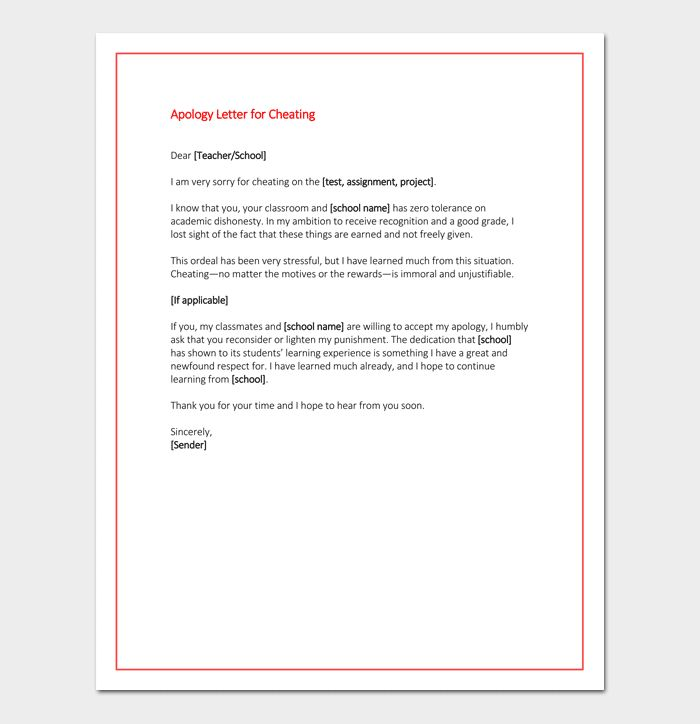 Apology Letter to Teacher - 5+ Useful Samples, Examples & Formats