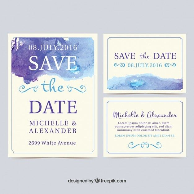 Watercolor wedding invitation cards Vector | Free Download
