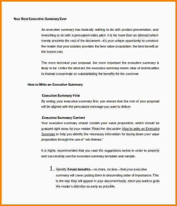 7+ example of an executive summary | nypd resume