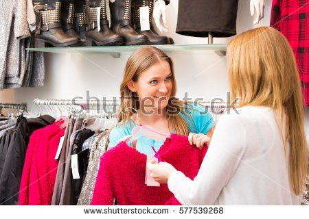 Woman Trying Red Dress Shopping Clothing Stock Photo 97290875 ...