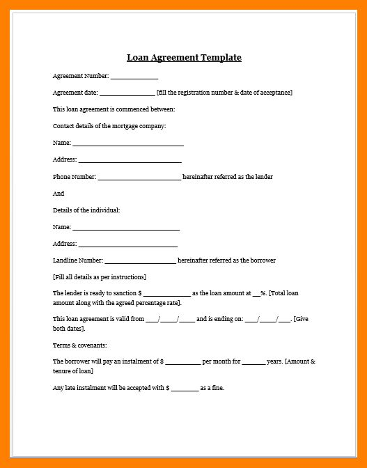 4+ free loan agreement forms | rn cover letter