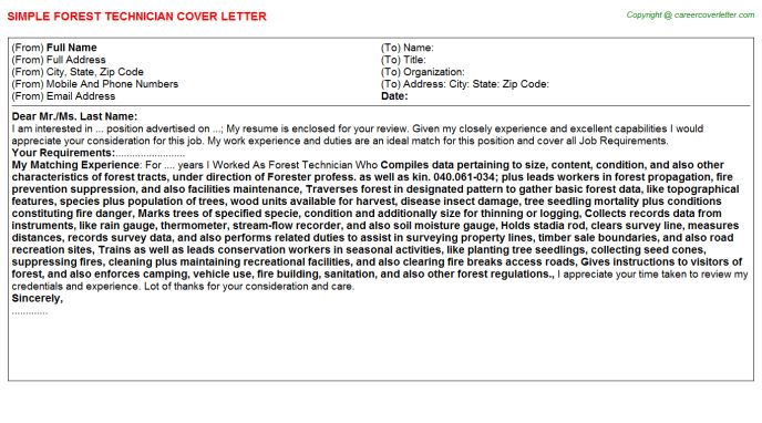 Forest Technician Cover Letter