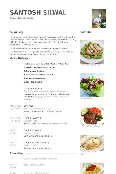 Line Cook Resume samples - VisualCV resume samples database