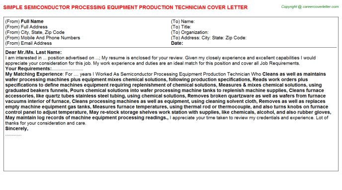 Semiconductor Process Engineer Cover Letters