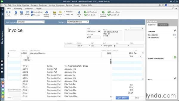 Invoicing customers