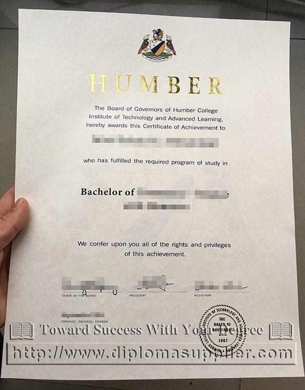 Ontario Humber College fake diploma image - Fake Certificate|Fake ...