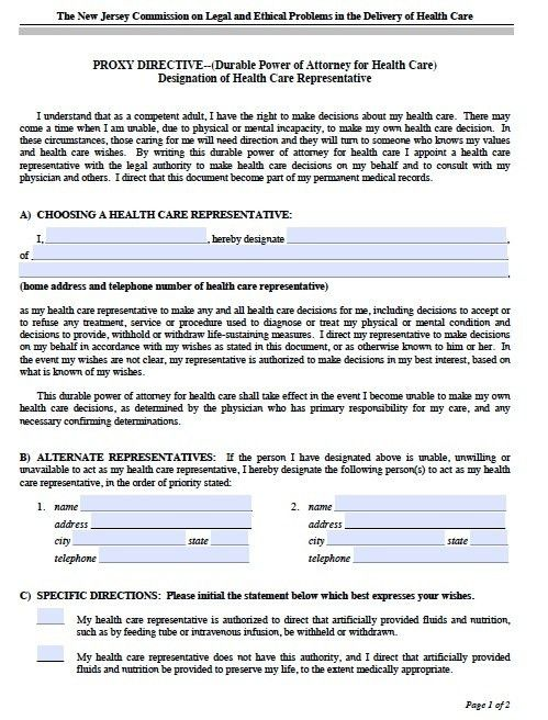 Free New Jersey Power of Attorney Forms and Templates
