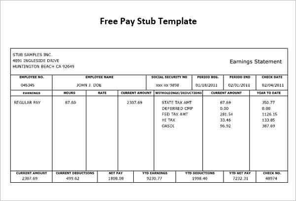 Independent Contractor Pay Stub Template | Template Idea