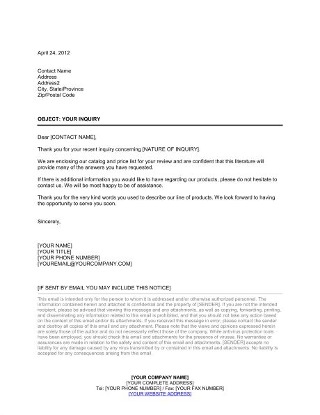 Standard Cover Letter in Response to Inquiry - Template & Sample ...