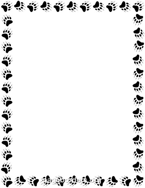 Printable bear paw print border. Use the border in Microsoft Word ...