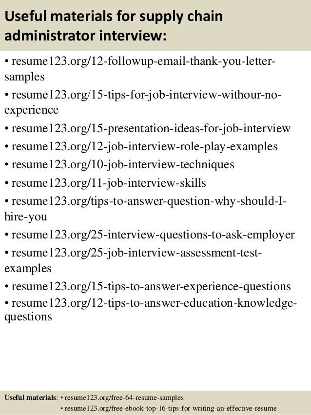 Top 8 supply chain administrator resume samples