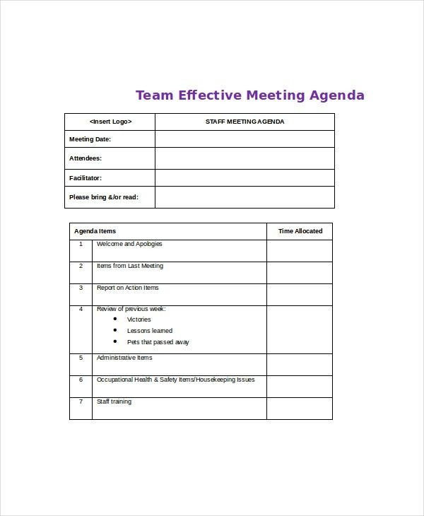 Effective Meeting Agenda Template – 10+ Free Word, PDF Documents ...