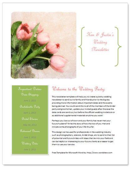 Free wedding newsletter template http://www.worddraw.com/wedding ...