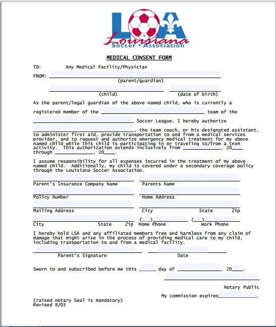 Sample Medical Consent Form | Printable Medical Forms, Letters ...