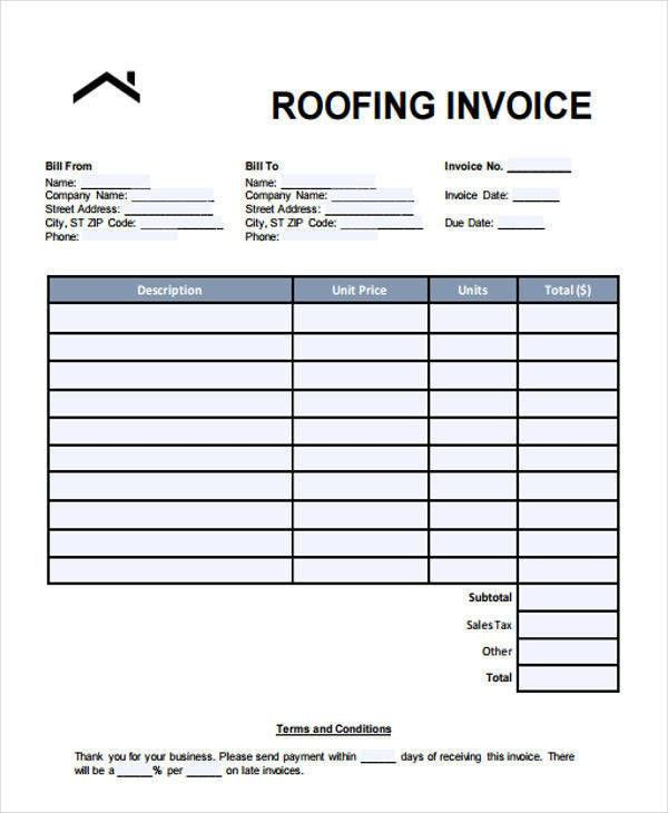 6+ Roofing Invoice Templates - Free Sample, Example, Format Download