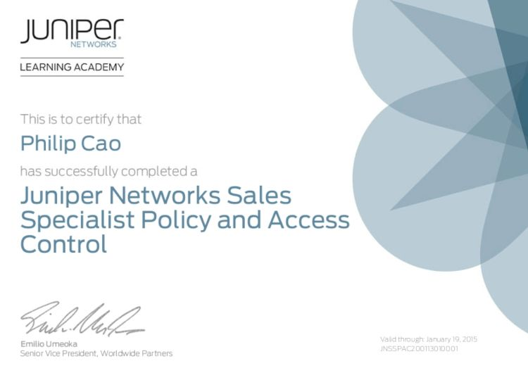 Juniper Networks Sales Specialist (JNSS) – Policy and Access ...