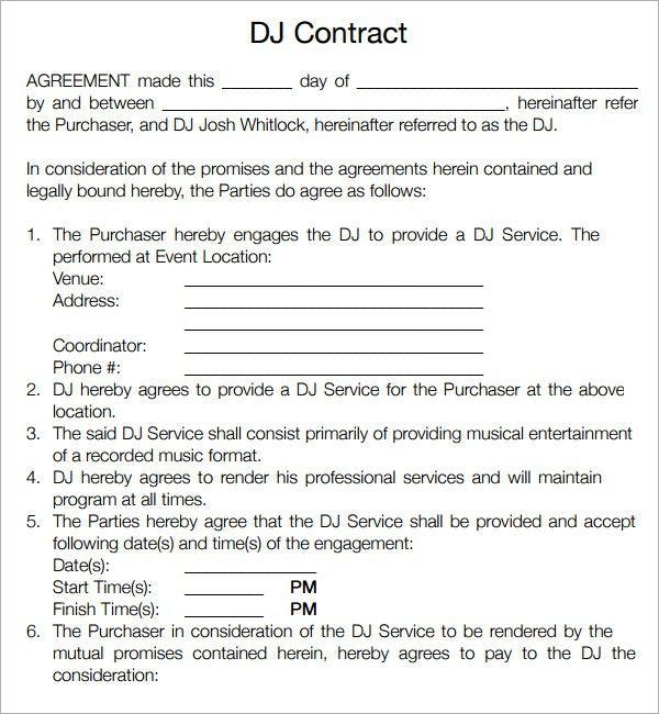 wedding dj contract thebridgesummitco - Free Dj Contract Template
