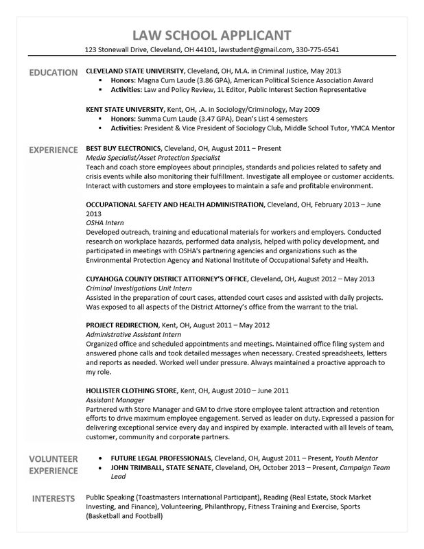 Law School Resume Samples | Free Resumes Tips