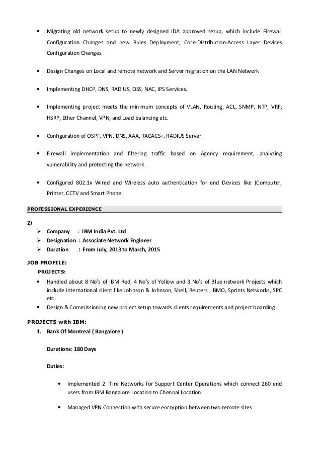 Resume for Network Engineer
