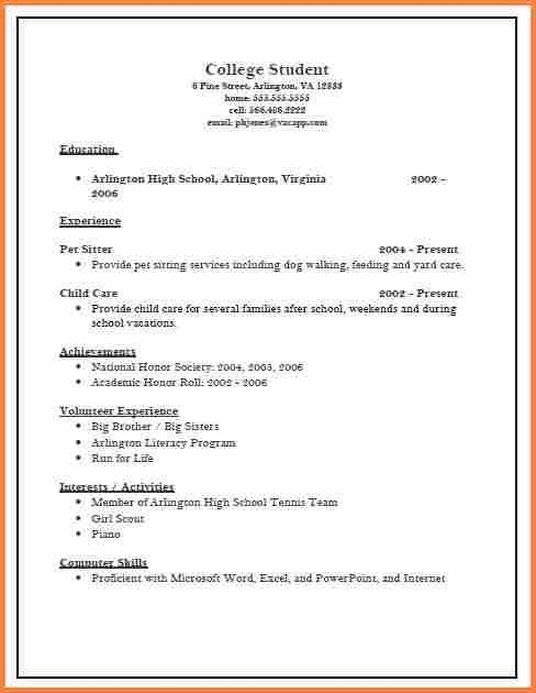 College Admissions Resume Template. Sample High School Resume ...