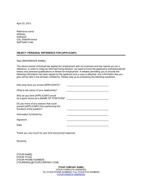 Personal Reference Check Letter - Template & Sample Form | Biztree.com