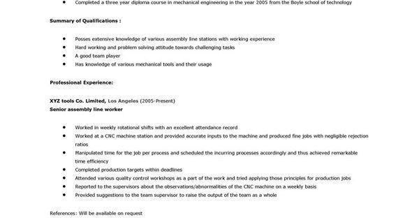 sample resume for assembly line worker production line worker