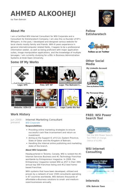 Internet Marketing Consultant Resume samples - VisualCV resume ...