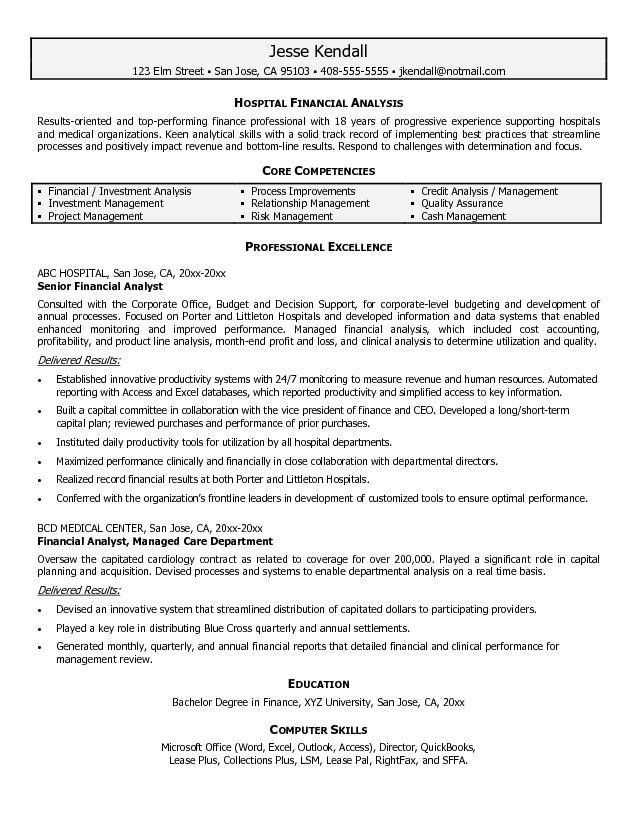 Free Hospital Financial Analyst Resume Example