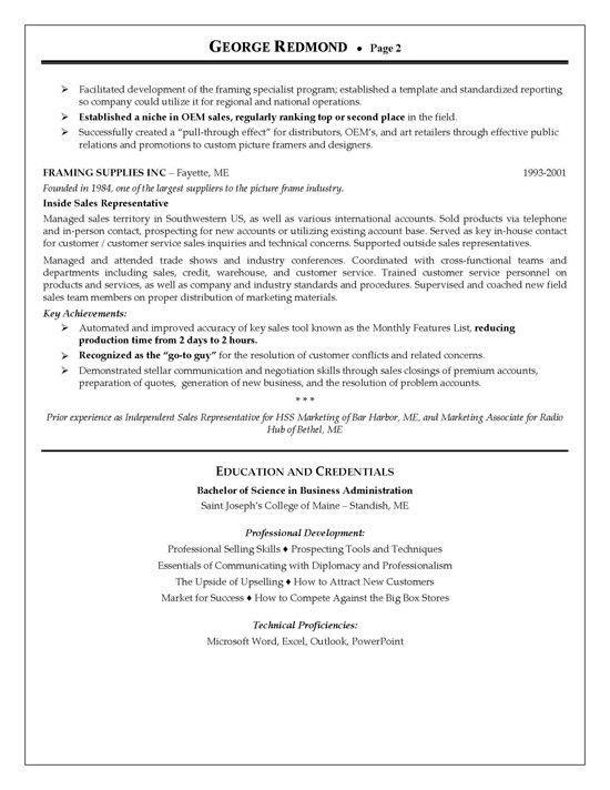 Regional Sales Resume Example