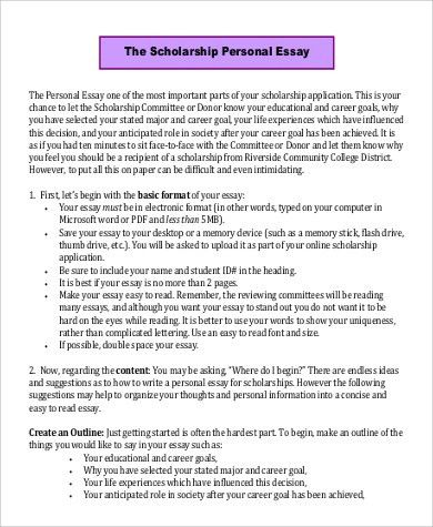 Sample Scholarship Essay - 7+ Examples in PDF