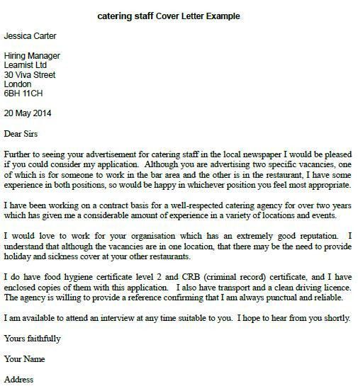 Catering Staff Cover Letter Example - Learnist.org