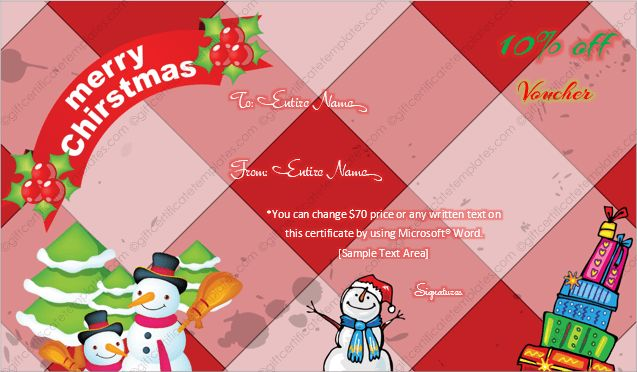 Christmas Gift Certificate Template 3 - Gift Template